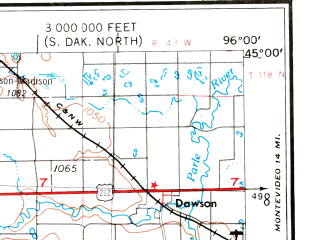 Reduced fragment of topographic map en--usgs--250k--069089--(1953)--N045-00_W098-00--N044-00_W096-00 in area of Lake Poinsett, Whitewood Lake, Lake Kampeska; towns and cities Brookings, Watertown, Madison, Flandreau, Taunton