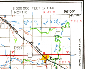 Reduced fragment of topographic map en--usgs--250k--069089--(1958)--N045-00_W098-00--N044-00_W096-00 in area of Lake Poinsett, Whitewood Lake, Lake Kampeska; towns and cities Watertown, Brookings, Madison, Vilas, Altamont