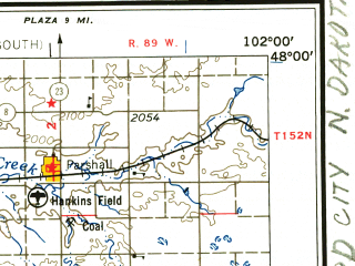 Reduced fragment of topographic map en--usgs--250k--069090--(1957)--N048-00_W104-00--N047-00_W102-00 in area of Lake Ilo, Demicks Lake; towns and cities Rawson, Halliday, Alexander