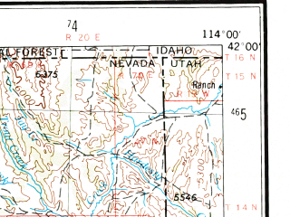 Reduced fragment of topographic map en--usgs--250k--069092--(1955)--N042-00_W116-00--N041-00_W114-00 in area of Marys, Wild Horse Reservoir; towns and cities Wells