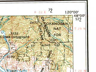 Reduced fragment of topographic map en--usgs--250k--069093--(1957)--N048-00_W122-00--N047-00_W120-00 in area of Kachess Lake, Wenatchee Lake, Cle Elum Lake; towns and cities Wenatchee, East Wenatchee Bench, Enumclaw, Cle Elum, Gold Bar