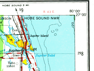 Reduced fragment of topographic map en--usgs--250k--069094--(1956)--N027-00_W082-00--N026-00_W080-00; towns and cities Fort Lauderdale, West Palm Beach, Fort Myers, Hollywood, Naples