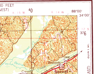 Reduced fragment of topographic map en--usgs--250k--069095--(1953)--N034-00_W090-00--N033-00_W088-00 in area of Grenada Lake, Bluff Lake; towns and cities Columbus, Grenada, Starkville, Aberdeen, Louisville