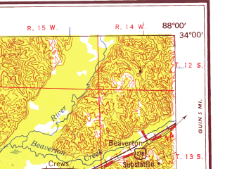 Reduced fragment of topographic map en--usgs--250k--069095--(1958)--N034-00_W090-00--N033-00_W088-00 in area of Grenada Lake, Bluff Lake; towns and cities Columbus, Grenada, Starkville, Kosciusko, Aberdeen