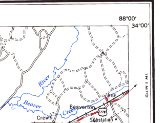 Reduced fragment of topographic map en--usgs--250k--069095--(1984)--N034-00_W090-00--N033-00_W088-00 in area of Grenada Lake, Bluff Lake; towns and cities Columbus, Grenada, Starkville, Aberdeen, Louisville