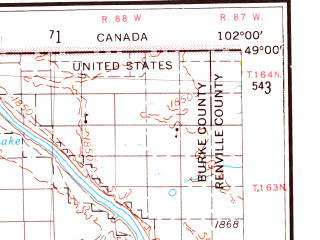 Reduced fragment of topographic map en--usgs--250k--069100--(1953)--N049-00_W104-00--N048-00_W102-00 in area of White Lake, Powers Lake, Miller Lake; towns and cities Williston, Tioga, Crosby, Epping
