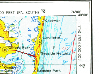 Reduced fragment of topographic map en--usgs--250k--069102--(1966)--N040-00_W076-00--N039-00_W074-00; towns and cities Philadelphia, Atlantic City, Vineland, Dover, Camden