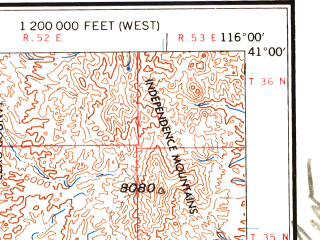 Reduced fragment of topographic map en--usgs--250k--069104--(1958)--N041-00_W118-00--N040-00_W116-00 in area of Spring Creek; towns and cities Winnemucca, Carlin, Battle Mountain