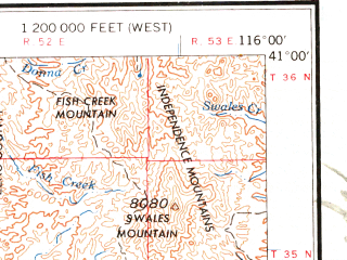 Reduced fragment of topographic map en--usgs--250k--069104--(1962)--N041-00_W118-00--N040-00_W116-00 in area of Spring Creek; towns and cities Winnemucca, Carlin, Battle Mountain