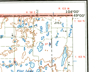 Reduced fragment of topographic map en--usgs--250k--069107--(1958)--N049-00_W106-00--N048-00_W104-00 in area of Medicine Lake, Homestead Lake, Katy Lake; towns and cities Westby, Culbertson, Outlook