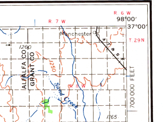 Reduced fragment of topographic map en--usgs--250k--069110--(1958)--N037-00_W100-00--N036-00_W098-00 in area of Great Salt Plains Lake, Canton Lake, Fort Supply Lake; towns and cities Woodward, Alva, Helena, Amorita, Longdale