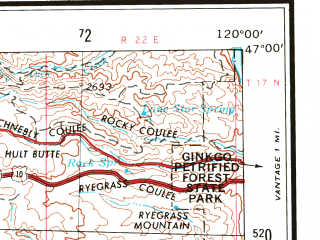 Reduced fragment of topographic map en--usgs--250k--069111--(1958)--N047-00_W122-00--N046-00_W120-00 in area of Rimrock Lake; towns and cities Yakima, Sunnyside, Ellensburg, West Valley, Selah