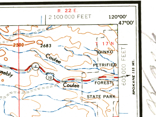 Reduced fragment of topographic map en--usgs--250k--069111--(1961)--N047-00_W122-00--N046-00_W120-00 in area of Rimrock Lake; towns and cities Yakima, Sunnyside, Ellensburg, West Valley, Selah