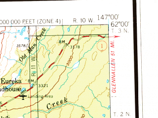 Reduced fragment of topographic map en--usgs--250k--072214--(1979)--N062-00_W150-00--N061-00_W147-00 in area of College Fiord, Inner Lake George, Matanuska; towns and cities Anchorage, Meadow Lakes, Big Lake, Butte
