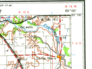 Reduced fragment of topographic map en--usgs--250k--072219--(1962)--N039-00_W090-00--N038-00_W088-00 in area of Carlyle Lake; towns and cities Collinsville, Centralia, O'fallon, Mount Vernon, Salem