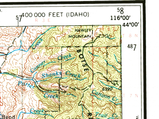 Reduced fragment of topographic map en--usgs--250k--072220--(1955)--N044-00_W118-00--N043-00_W116-00 in area of Boise, Owyhee, Lake Owyhee; towns and cities Boise, Nampa, Caldwell, Garden City, Meridian