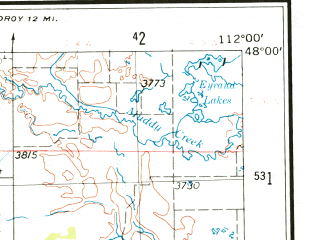 Reduced fragment of topographic map en--usgs--250k--072223--(1955)--N048-00_W114-00--N047-00_W112-00 in area of South Fk. Flathead, South Fk. Sun, North Fk. Sun; towns and cities Choteau