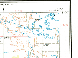 Reduced fragment of topographic map en--usgs--250k--072223--(1962)--N048-00_W114-00--N047-00_W112-00 in area of South Fk. Flathead, South Fk. Sun, North Fk. Sun; towns and cities Choteau