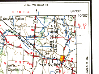 Reduced fragment of topographic map en--usgs--250k--072224--(1957)--N040-00_W086-00--N039-00_W084-00; towns and cities Cincinnati, Dayton, Hamilton, Middletown, Kettering