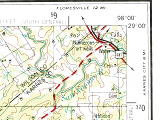 Reduced fragment of topographic map en--usgs--250k--072225--(1955)--N029-00_W100-00--N028-00_W098-00 in area of Choke Canyon Lake, Frio; towns and cities Pearsall, Pleasanton, Carrizo Springs, Big Wells, Dilley