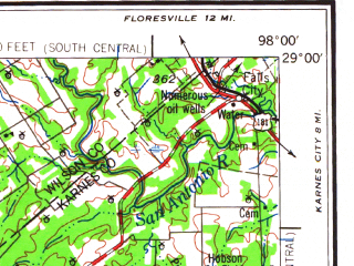 Reduced fragment of topographic map en--usgs--250k--072225--(1961)--N029-00_W100-00--N028-00_W098-00 in area of Choke Canyon Lake, Frio; towns and cities Crystal City, Pearsall, Pleasanton, La Pryor, Asherton