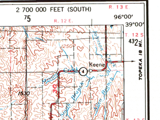 Reduced fragment of topographic map en--usgs--250k--072229--(1955)--N039-00_W098-00--N038-00_W096-00 in area of Marion Lake, Council Grove Lake; towns and cities Emporia, Salina, Hutchinson, Mcpherson, Newton