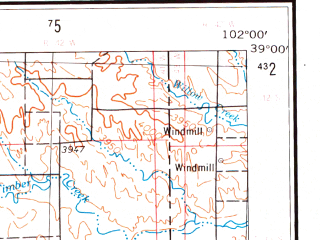 Reduced fragment of topographic map en--usgs--250k--072234--(1954)--N039-00_W104-00--N038-00_W102-00 in area of John Martin Reservoir, Adobe Creek Reservoir, Lake Meredith; towns and cities Lamar, Haswell, Sheridan Lake, Holly