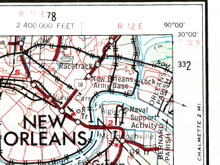 Reduced fragment of topographic map en--usgs--250k--072240--(1963)--N030-00_W092-00--N029-00_W090-00 in area of Lake Salvador, Atchafalaya Bay, Little Lake; towns and cities New Orleans, Metairie, Houma, Marrero, Harvey