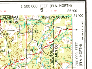 Download topographic map in area of Pensacola Fort Walton Beach