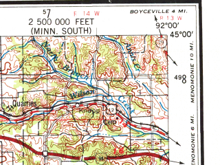 Reduced fragment of topographic map en--usgs--250k--072246--(1953)--N045-00_W094-00--N044-00_W092-00; towns and cities Minneapolis, St. Paul, Rochester, Bloomington, Burnsville
