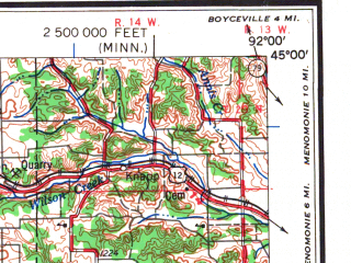 Reduced fragment of topographic map en--usgs--250k--072246--(1959)--N045-00_W094-00--N044-00_W092-00; towns and cities Minneapolis, St. Paul, Rochester, Bloomington, Burnsville