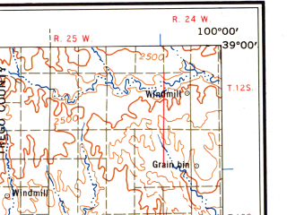 Reduced fragment of topographic map en--usgs--250k--072247--(1958)--N039-00_W102-00--N038-00_W100-00; towns and cities Dighton, Gove City, Sharon Springs