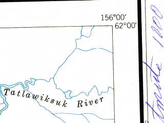 Reduced fragment of topographic map en--usgs--250k--072249--(1950)--N062-00_W159-00--N061-00_W156-00 in area of Holitna, Big Lake, Tishimna Lake; towns and cities Crooked Creek, Red Devil, Sleetmute