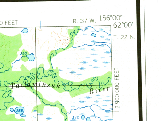 Reduced fragment of topographic map en--usgs--250k--072249--(1954)--N062-00_W159-00--N061-00_W156-00 in area of Holitna, Big Lake, Tishimna Lake; towns and cities Crooked Creek, Red Devil, Sleetmute
