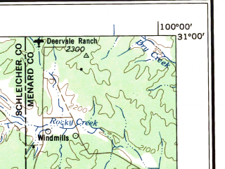 Reduced fragment of topographic map en--usgs--250k--072250--(1958)--N031-00_W102-00--N030-00_W100-00 in area of South Llano; towns and cities Sonora, Eldorado, Iraan