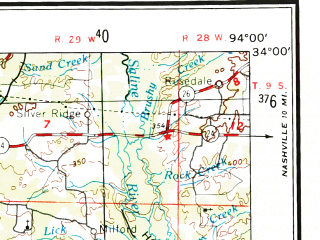 Reduced fragment of topographic map en--usgs--250k--072251--(1953)--N034-00_W096-00--N033-00_W094-00 in area of Wright Patman Lake, Sulphur; towns and cities Texarkana, Paris, Mount Pleasant, Sulphur Springs, New Boston