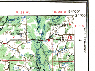 Reduced fragment of topographic map en--usgs--250k--072251--(1956)--N034-00_W096-00--N033-00_W094-00 in area of Wright Patman Lake, Sulphur; towns and cities Texarkana, Paris, Mount Pleasant, Sulphur Springs, Idabel