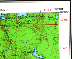 Reduced fragment of topographic map en--usgs--250k--072252--(1964)--N048-00_W092-00--N047-00_W090-00 in area of Temperance, Birch Lake, White Iron Lake; towns and cities Winton, Babbitt, Beaver Bay