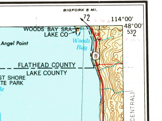 Reduced fragment of topographic map en--usgs--250k--072255--(1956)--N048-00_W116-00--N047-00_W114-00 in area of Flathead, Thompson, Noxon Reservoir; towns and cities Pablo, Hot Springs, St. Ignatius