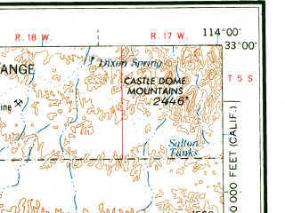 Reduced fragment of topographic map en--usgs--250k--074959--(1964)--N033-00_W116-00--N032-00_W114-00 in area of Mittry Lake; towns and cities Mexicali, Yuma, El Centro, Brawley, Calexico
