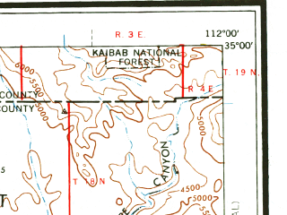 Reduced fragment of topographic map en--usgs--250k--074966--(1959)--N035-00_W114-00--N034-00_W112-00 in area of Alamo Lake; towns and cities Prescott, Prescott Valley, Cottonwood, Bagdad, Black Canyon City