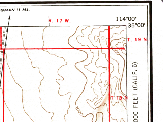 Reduced fragment of topographic map en--usgs--250k--074967--(1954)--N035-00_W116-00--N034-00_W114-00 in area of Bristol Lake (dry), Danby Lake (dry), Lake Havasu; towns and cities Lake Havasu City, Mohave Valley, Needles, Bluewater, Parker