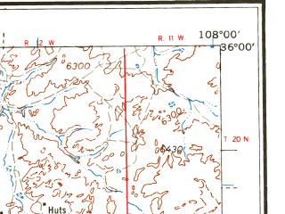 Reduced fragment of topographic map en--usgs--250k--074969--(1959)--N036-00_W110-00--N035-00_W108-00 in area of Puerco, Black Creek, Coyote Wash; towns and cities Gallup, Zuni Pueblo, St. Michaels, Mexican Springs, Crownpoint