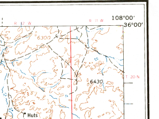 Reduced fragment of topographic map en--usgs--250k--074969--(1962)--N036-00_W110-00--N035-00_W108-00 in area of Puerco, Black Creek, Coyote Wash; towns and cities Gallup, Zuni Pueblo, Tohatchi, Fort Defiance, Navajo