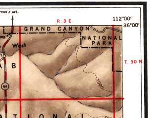 Reduced fragment of topographic map en--usgs--250k--074971--(1948)--N036-00_W114-00--N035-00_W112-00 in area of Colorado, Colorado; towns and cities Williams, Peach Springs