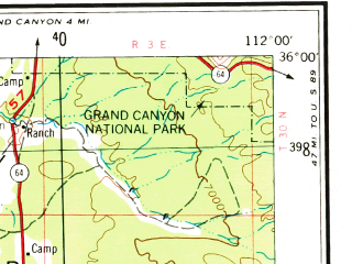 Reduced fragment of topographic map en--usgs--250k--074971--(1954)--N036-00_W114-00--N035-00_W112-00 in area of Colorado, Colorado; towns and cities Peach Springs, Williams