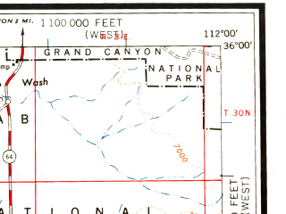 Reduced fragment of topographic map en--usgs--250k--074971--(1960)--N036-00_W114-00--N035-00_W112-00 in area of Colorado, Colorado; towns and cities Williams, Peach Springs