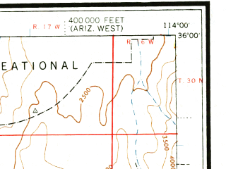 Reduced fragment of topographic map en--usgs--250k--074972--(1947)--N036-00_W116-00--N035-00_W114-00 in area of Lake Mohave, Colorado, Red Lake; towns and cities Bullhead City, Kingman, New Kingman-butler, Boulder City, Laughlin