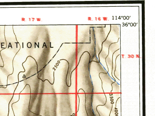 Reduced fragment of topographic map en--usgs--250k--074972--(1948)--N036-00_W116-00--N035-00_W114-00 in area of Lake Mohave, Colorado, Red Lake; towns and cities Bullhead City, Kingman, New Kingman-butler, Boulder City, Laughlin