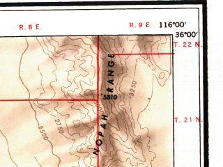 Reduced fragment of topographic map en--usgs--250k--074973--(1947)--N036-00_W118-00--N035-00_W116-00 in area of Searles Lake (dry), Coyote Lake (dry), Harper Lake (dry); towns and cities Ridgecrest, California City, North Edwards, Boron, Searles Valley